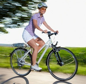 lady on electric bike